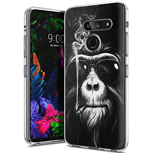 Yoedge Capa para LG G8 ThinQ, capa transparente com design impresso [ultrafina] capa traseira de silicone TPU macia à prova de choque para LG G8 ThinQ/LG G8 (orangotango)