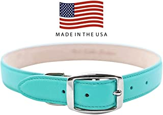 Real Leather Creations Made in The USA - Genuine Leather Dog Collar - Vegetable Tanned Leather - American Factory Direct