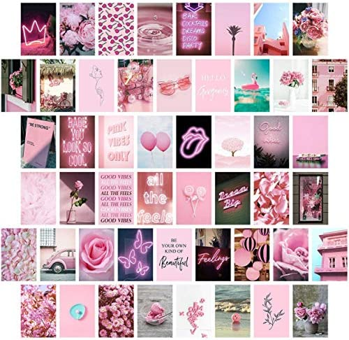 Pink Wall Collage Kit Aesthetic Pictures Bedroom Decor for Teen Girls Wall Collage Kit Collage product image
