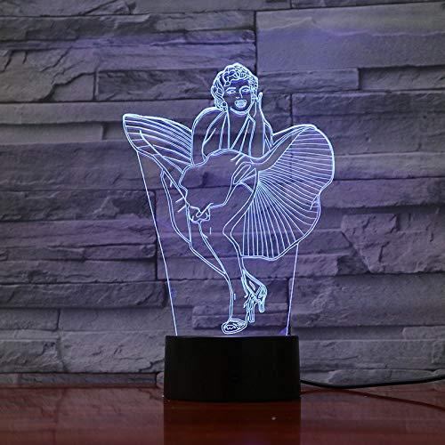 Marilyn Monroe Figura The Seven Year Itch Imagen de acción clásica Night Light 3D LED USB Lámpara de mesa regalo de cumpleaños para niños decoración de la habitación junto a la cama