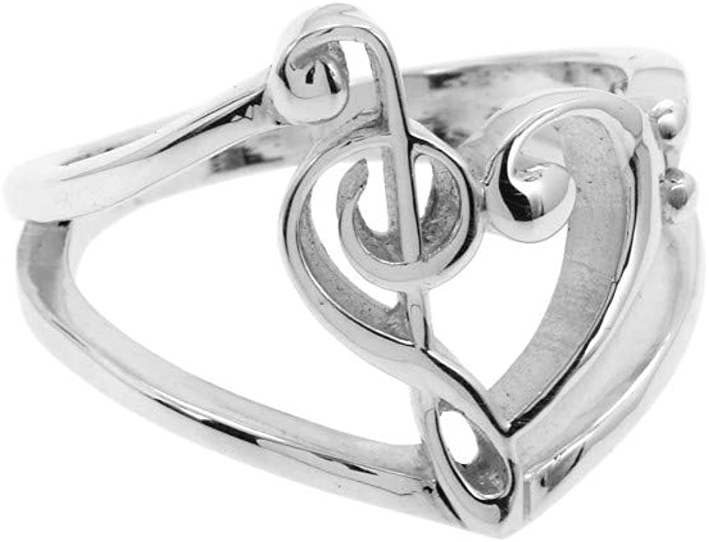 .925 Sterling Silver Inventory cleanup selling sale Treble Clef Ring Award-winning store and Bass