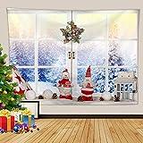 KnBoB Tapiz Pared Decorativo Decoración de Ventana de Navidad con Escena de Nieve 180 x 230 CM Tejido Poliester Anti Arruga