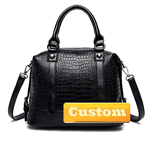 WLDSW Organizador de bolsos con nombre personalizado con inserción, pequeño bolso de piel para niñas (color: negro, tamaño: talla única)