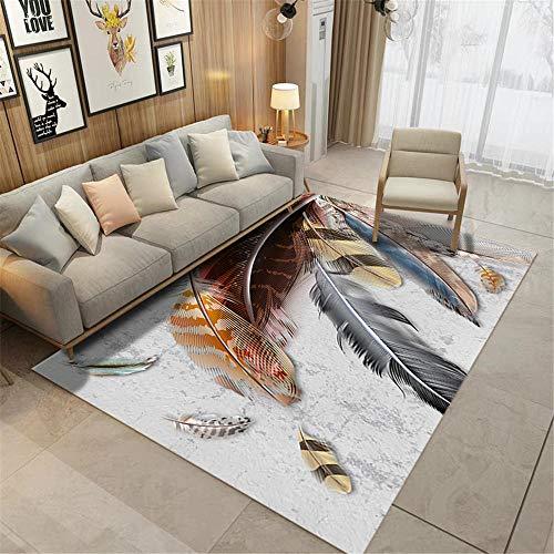 alfombra juvenil cuadro decoracion salon Alfombra con diseño de plumas para sala de estar respetuosa con el medio ambiente, resistente al desgaste y lavable a máquina alfombras infantiles lavables 100