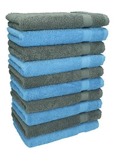 Betz Lot de 10 Serviettes débarbouillettes lavettes Taille 30x30 cm 100% Coton Premium Couleur Bleu Clair et Gris Anthracite