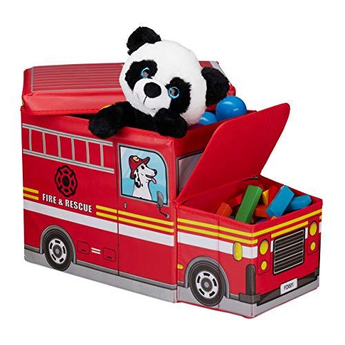 Relaxdays Baúl para juguetes, Taburete infantil plegable, Caja con compartimento, Para niños y niños, Forma de autobús, 50 L, Camión de bomberos