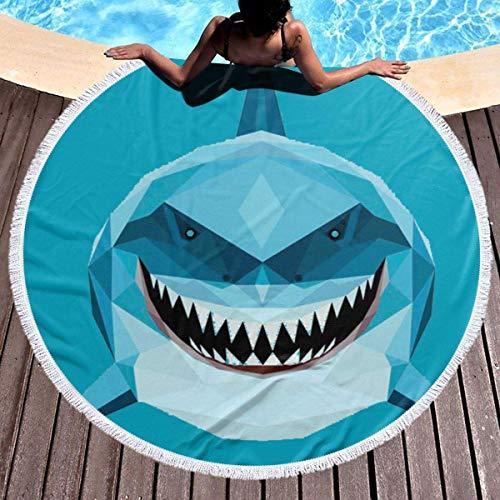 Toalla de playa redonda gruesa de tiburón azul, manta de picnic al aire libre, decoración de playa de microfibra para mujer