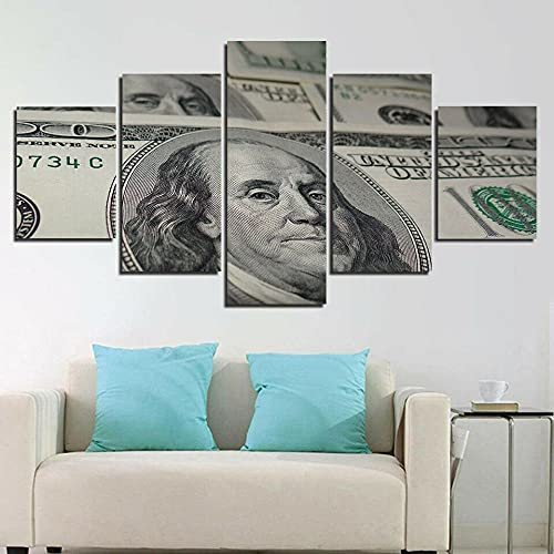 ZHONGZHONG 5 Panels Canvas Prints Landscape Pictures Paintings On Modern Stretched And Framed Canvas Wall Art Dollar Banknotes Money Currency Artwork For Home Décor 60X32Inch