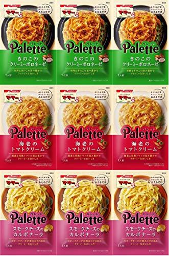 マ・マー Palette あえるだけ パスタソース 3種 (きのこのクリーミーボロネーゼ3袋、海老のトマトクリーム3袋、スモークチーズのカルボナーラ3袋)