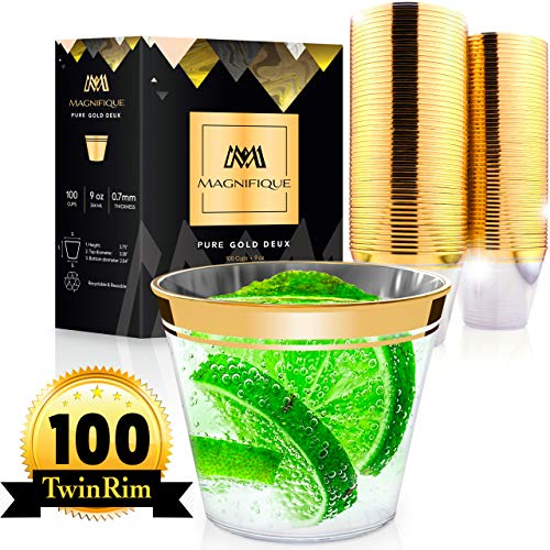 100 Premium TwinRim Gold Plastic Cups   9oz Eco Heavy Weight Disposable Cups   Best as Disposable Wine Glasses Wedding Cups Rose Gold Cups Clear Cups Plastic Wine Cups Plastic Party Cups Fancy Cups