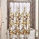 iDesign Anzu Duschvorhang | waschbarer Duschvorhang in 183,0 cm x 183,0 cm | mit floralem Duschvorhang Motiv | Polyester braun