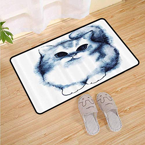 Anmaseven Navy Blue Decor Kids Floor mats Cute Kitty Paint with Distressed Color Features Fluffy Cat Best Companion Ever Design Doormat for Porch/Kitchen/Farmhouse