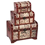 Set of 3 Wooden Storage Chest & Vintage Trunks, Victorian Map Print (Large, Medium & Small)