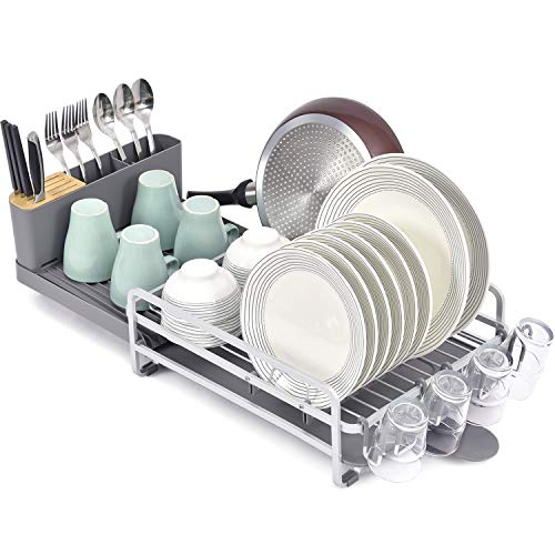 Toolf Dish Rack and Drainboard Set Extend Large Dish Drying Rack with Swivel Spout for Kitchen Counter or Sink Expandable Dish Drainer Rack with Utensil Holder and Cup Holder