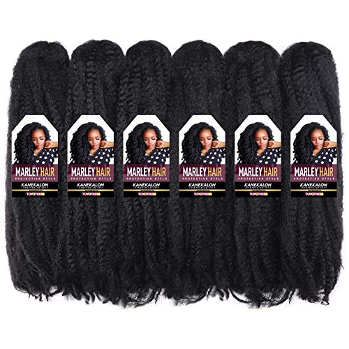 Toyotress Marley Hair For Twists 18 Inch 6packs Long Afro Marley Braid Hair Synthetic Fiber Marley Braiding Hair Extensions (18', 1B)