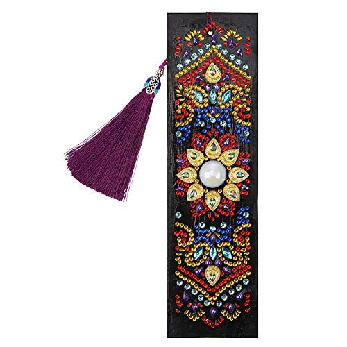 Umbresen Leather Bookmark DIY 5D Special Shaped Diamond Painting by Number Kits,Beaded Tassel Book Marks Art Craft Mosaic Making Gifts for Christmas, Thanksgiving, New Year, Birthday (Mandala 3)