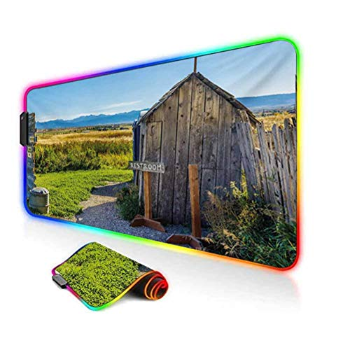 RGB Gaming Mouse Pad,Old Rustic Wooden Cottage Barn Shed in a Farm Village Image Soft Computer Keyboard Mouse Pad,35.6'x15.7',for Game Players,Office,Study Dark Grey Green and Sky Blue