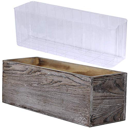 "1 Pcs Wood Planter Box Rectangle Whitewashed Wooden Rectangular Planter with Inner Plastic Box - 11.5"" L x 3.75"" W x 3.75"" H Floral Natural Centerpieces Rustic Wedding Decoration"
