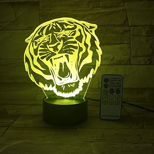 Animal Tiger Head Lámpara de mesa 3D Luz de noche LED Cambi
