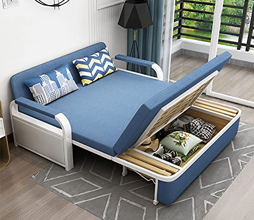 UNICORN FURNITURE Sofa Bed Modern Reclining Foldable Bed Pull Out Sofa Bed With Storage for Living Room Space Saving Sofabed Multifunctional in Made to Match Cushions (Blue)