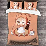 Himouto! Umaru-Chan Duvet Cover Set Soft Bedding Set Duvet Cover Twin Bedding Set Comforter Cover 3D Printing Bedding Bedroom 3 Pcs Sets 1 Quilt Cover with 2 Pillowcases (No Comforter) 86'X70'