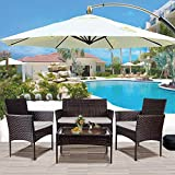nozama Patio Porch Set 4 Pieces Patio Furniture Set Outdoor PE Rattan Wicker Chairs with Table Conversation Furniture for Backyard Rattan Patio Sets 2 Single Armchairs 1 Loveseat with Cushion (Brown)
