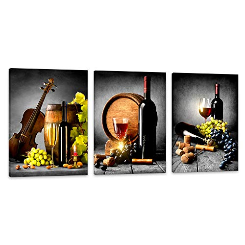 Wall Art For Kitchen Canvas Artwork Fruits Grapes Wine Bottle Foods Canvas Painting - 3 Pieces Canvas Art Contemporary Nature Pictures for Dining Room Wall Decor Home Decoration