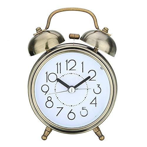 Creativo retro despertador reloj de bronce antiguo reloj redondo dual campana fuerte reloj despertador noche luz de noche luz decoraciones regalo venta caliente venta Despertador ( Color : Black )