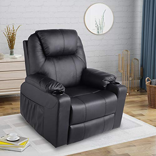 LETATA Recliner Chair Rocking 360° Swivel PU Leather Furniture Ergonomic Chair Heated Living Room Lounge Single Sofa with 2 Cup Holders Side Pockets Wireless Remote Control