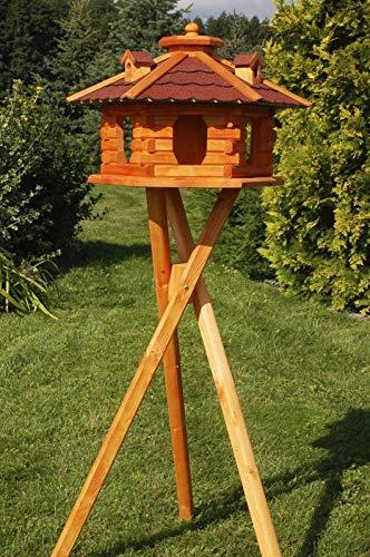 DEKO VERTRIEB BAYERN XXL Premium Solar Vogelhaus mit Solar Beleuchtung + Ständer 135cm hoch VORRATSFÜTTERUNG Vogelvilla, Farbe: Dach rot