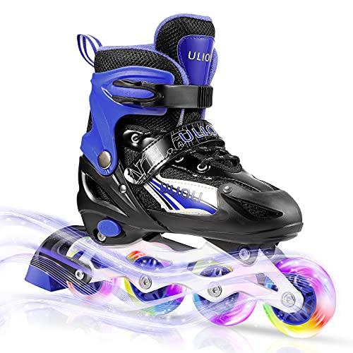 Patines en Línea Ajustables con LED Ruedas, ULIOLI Inline Skates Cómodo de Exterior e Interior para Niños y Adulto, Rollerblade con Ruedas Luminosas de PU para Principiantes (Tamaño 28-42) Azul