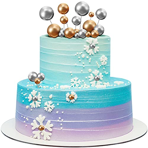 66 Stücke Mini Ballon Kuchen Topper Schaum Ball Kuchen Picks Cupcake Faux Pearl Balls DIY Kuchen Insert Topper Backdekoration für Jubiläum Geburtstagsfeier Babyparty Dekoration (Golden, Silbern)