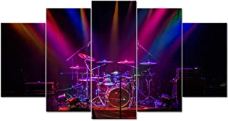 LevvArts - Large 5 Piece Music Canvas Wall Art Drum in Spotlight Picture Painting for Bar Pub Music Studio Wall Decoration Gallery Canvas Wrapped Ready to Hang