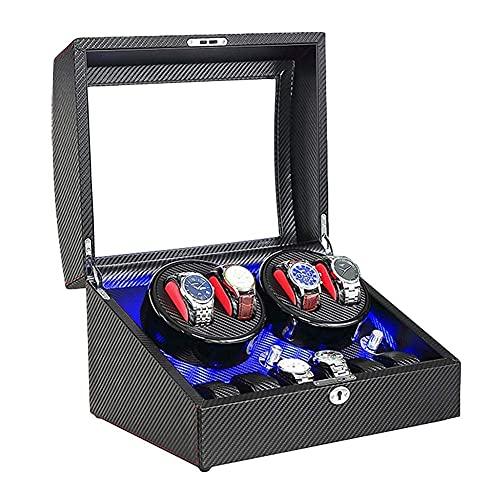 Devanadera automática de Reloj Carcasa de Madera Fibra de Carbono Exterior de Cuero Suave y Flexible Almohada de Reloj Fuente de alimentación Dual Motor silencioso