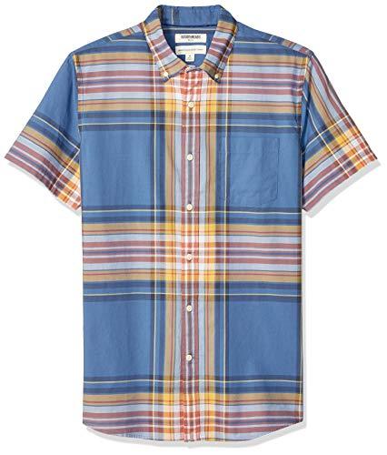 Amazon Brand - Goodthreads Men's Standard-Fit Short-Sleeve Lightweight Madras Plaid Shirt, Blue Yellow Plaid, Large