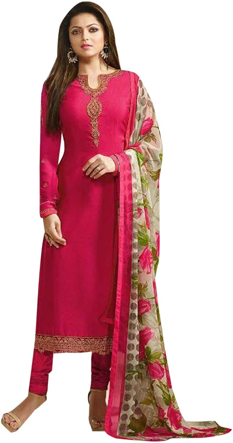 Indian Ethnic Pink Straight Long Salwar Kameez suit With Floral Dupatta Party Wear 7334