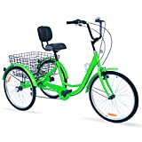 Hangnuo Adult Tricycles 7 Speed, Adult Tricycle Trikes 24/26 inch 3 Wheel Bikes, Three-Wheeled Bicycles Cruise Trike with Shopping Basket for Seniors Women Men (Light Green, 26' Wheel/7-Speed)