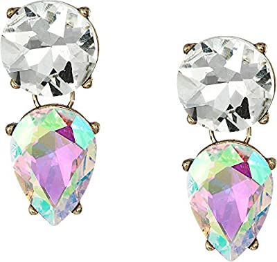 Steve Madden Women's Iridescent Round and Teardrop Rhinestone Clip Earrings Multi/Yellow Gold-Tone One Size