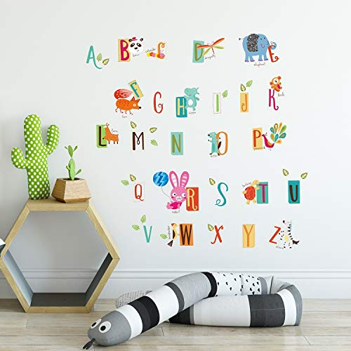 UKN Kids Learning A to Z Letters Wall Sticker Nursery Decal Blue