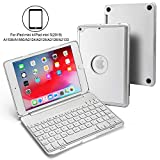 foreaya Aluminum Folding Keyboard Case Compatible with iPad Mini 5(2019)/iPad Mini 4,7 Color Adjustable Backlit Wireless Keyboard Cover Slim Built-in Stand Folio Protective Case (Silver)
