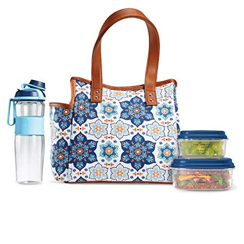 Fit & Fresh Westerly Insulated Lunch Bag Kit with Matching Bottle and Containers, Blue Orange Petal Medallion