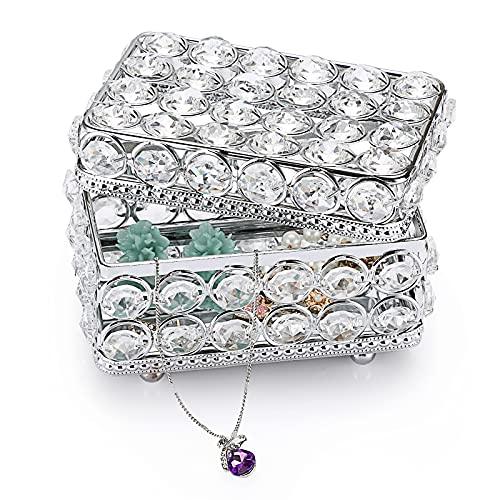 SUMTree Joyero rectangular con tapa de cristal y metal para joyas, joyero, decoración para el hogar, dormitorio, baño, plata, regalo para mujer y novia