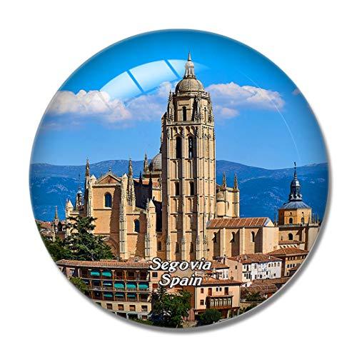 Imán de nevera 3D de la catedral de España de Segovia para pizarra blanca imán de cristal de recuerdo