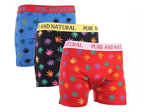 IMTD Herren 3prs Designer Leaf Weed Ganga Print Design Boxer Shorts Unterwäsche BoxerShorts Trunk S-XL Gr. Größe L, sortiert