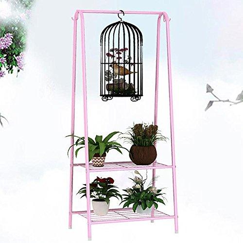 LLLXUHA Art de fer Multi-couche suspension Pot à fleurs intérieur Multifonction Type de plancher Araignée Support de fleurs, balcon Succulentes Présentoir,60.2*35.8*151cm , Pink