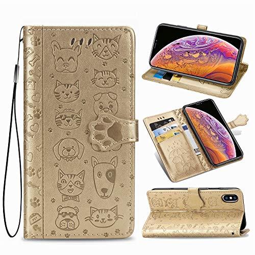 Oihxse Billetera Cuero Funda Compatible con Huawei P30 Lite PU Libro Tapa Flip Soporte Plegable Protector Magnético Carcasa Gato Perro Lindo Animal Diseño Wallet Case-Dorado