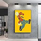 N / A Cartel Moderno de Dibujos Animados Josh Mirman Wordy Mario Lienzo Pintura Carteles e Impresiones Cuadros de Pared para habitación de niños Cuadros decoración del hogar 60x90 cm sin Marco