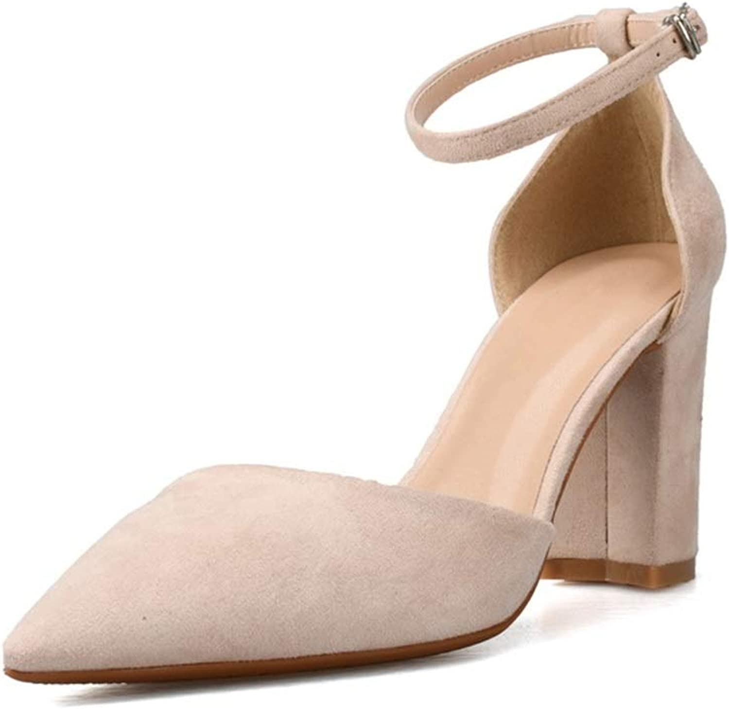 shoes Fashion Ankle Strap Sandals for Women High Block Heel Pointed Toe Pumps for Ladies Faux Suede Upper Dress Sandal Comfortable