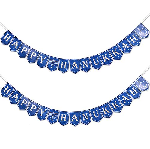 Happy Hanukkah Banner Garland 2 Pack Silver & Blue Holiday Letter Hanging Bunting Sign Menorah for Backdrop Fireplace Mantle Home Wall Door Indoor Outdoor Party Supplies Decorations