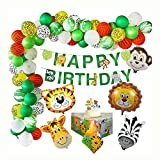 Xdszs 44pcs / Set Jungle Safari Theme Party Decoración de cumpleaños Niños Niños Animal Banner Cake Topper Mantel Supplies de cumpleaños